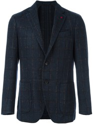 Lardini 'Supersoft' Checked Blazer Blue