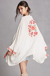 Forever 21 Z And L Europe Floral Kimono Natural Multi
