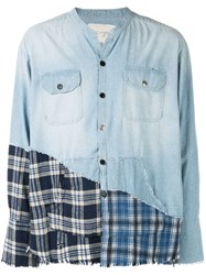 Greg Lauren Contrast Panel Denim Shirt Blue
