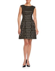 Vince Camuto Cap Sleeved Fit And Flare Dress Black Gold