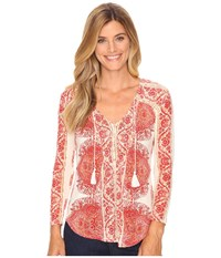 Lucky Brand Placed Print Top Red Multi Women's Clothing