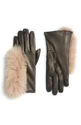 Echo Women's Touchscreen Compatible Gloves With Genuine Fox Fur Trim