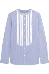J.Crew Thomas Mason Grosgrain Trimmed Striped Cotton Poplin Shirt Blue