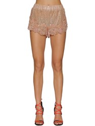 Dsquared Embroidered Silk And Lace Shorts Nude