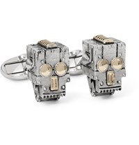 Paul Smith Robot Skull Silver And Gold Tone Cufflinks Silver