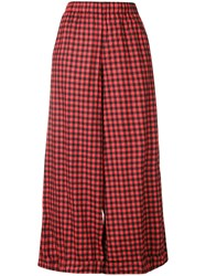 Daniela Gregis Checked Wide Leg Trousers Red