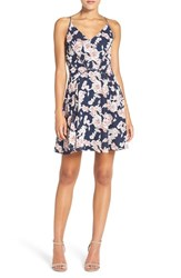 Greylin Women's 'Serina' Print Woven Fit And Flare Dress Navy