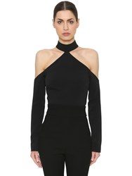 David Koma Cady Cut Out Wool Crop Top Black