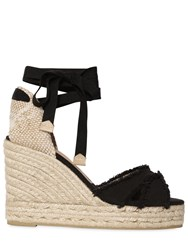 Castaner 80Mm Fringed Lace Up Canvas Wedges
