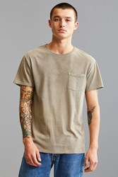 Urban Outfitters Uo Standard Fit Sun Faded Pocket Tee Khaki