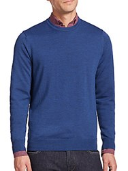 Toscano Merino Wool Crewneck Sweater Blue