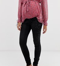 Mamalicious Slim Jeans With Sequin Detail And Bump Band Black