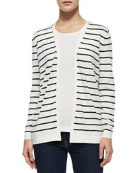 Neiman Marcus Striped Cardigan W Lace Back White Black