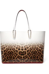Christian Louboutin Cabata Studded Degrade Leopard Print Leather Tote Brown