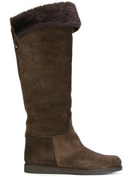 Salvatore Ferragamo 'My Ease' Shearling Boots Brown