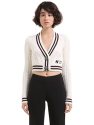 N 21 Wool And Mohair Cable Knit Crop Cardigan