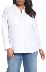 Caslonr Plus Size Women's Caslon Long Sleeve Crinkle Cotton Shirt White
