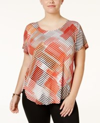 Alfani Plus Size Printed T Shirt Only At Macy's Wave Tropical Reef