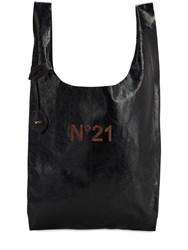 N 21 Logo Patched Leather Tote Bag Black
