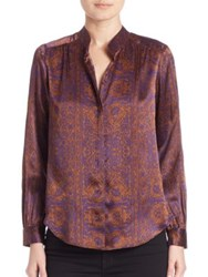 L'agence Printed Long Sleeve Silk Shirt Purple Gold Combo