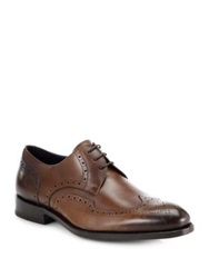 Isaia Leather Brogue Lace Up Shoes Brown