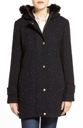 Ellen Tracy Tweed Duffle Coat With Genuine Fox Fur Trim Black Navy