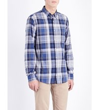 Tommy Hilfiger Damian Regular Fit Check Print Cotton Shirt Navy