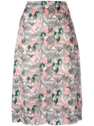 Julien David Floral Printed Midi Skirt Women Silk S Pink