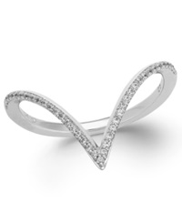 Wrapped Diamond V Shaped Ring In 10K White Gold 1 6 Ct. T.W.