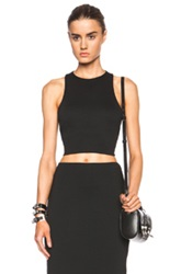 T By Alexander Wang Lux Viscose Blend Ponte Bandeau Back Crop Top In Black