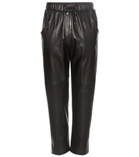 Brunello Cucinelli Leather Cropped Trousers Black