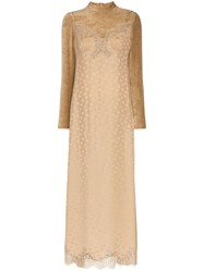 Stella Mccartney High Neck Lace Velvet Silk Blend Dress Nude And Neutrals