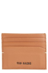 Ted Baker London Micro Perforated Leather Bifold Card Holder Brown Tan