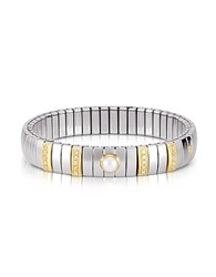 Nomination Single Pearl Golden Stainless Steel Women's Bracelet W Cubic Zirconia Silver