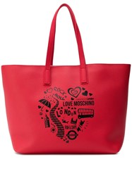 Love Moschino London Print Shopper Tote Red