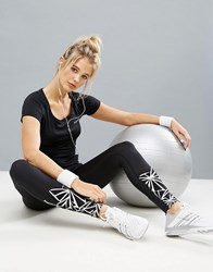 Elle Sport Graphic Print Gym Leggings Black Silver