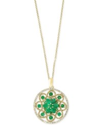 Effy Brasilica By Emerald 1 7 8 Ct. T.W. And Diamond 1 4 Ct. T.W. Floral Pendant Necklace In 14K Gold Green