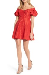 Topshop Women's Taffy Puff Sleeve Off The Shoulder Dress Red