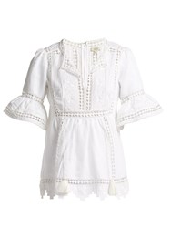 Talitha Gypsy Lace Insert Cotton Top White