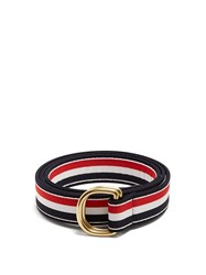 Thom Browne Striped D Ring Canvas Belt Navy Multi