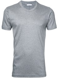 Estnation V Neck T Shirt Men Cotton Lyocell S Grey