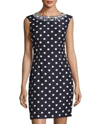 Tahari By Arthur S. Levine Bead Embellished Polka Dot Sheath Dress Blue White