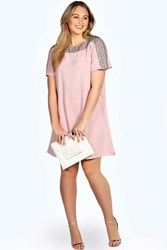 Boohoo Embellished Neckline Shift Dress Nude