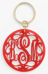 Women's Moon And Lola Personalized Monogram Key Chain Red Ruby