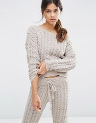 Asos Lounge Cable Jumper In Chenille Putty Grey
