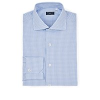Finamore Checked Cotton Dress Shirt Blue