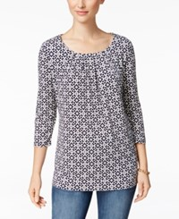 Charter Club Iconic Print Crew Neck Top Only At Macy's Intrepid Blue Combo