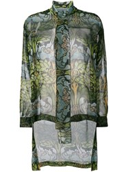 Alberta Ferretti Sheer Pussy Bow Blouse Green