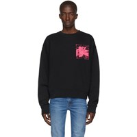 Off White Black And Pink Oversized Skulls Floating Sweatshirt
