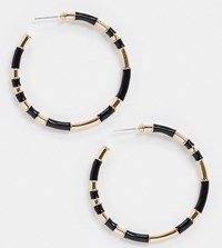 Accessorize Exclusive Hoop Earrings In Black And Gold
